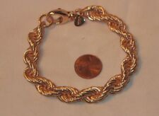 Golden Tone Chunky Twisted Wire Rope Chain Link Bracelet; By Bronze Miloy Italy