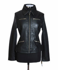 Tina Black Ladies Biker Style Fashion Retro Real Soft Sheep Leather Jacket 12