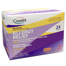 Camber Fexofenadine 180mg Allergy Relief 30ct Tablets