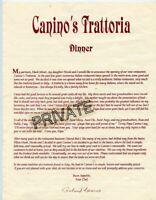 "Canino's Trattoria Menu - (Paper) 11"" x 8 1/2"" - Italian Restaurant, Nice Cond"