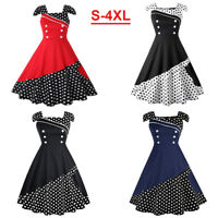 4XL Women Vintage Retro 50s Swing Pinup Rockabilly Evening Party Cocktail Dress