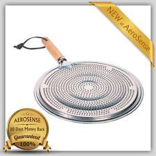 Flame Simmer Ring Heat Diffuser With Wood Handle Tamer Stovetop Aluminum Gas