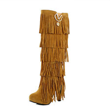 Womens Fringe Boots High Fashion Slouch High Heel Boot Hot Stylish Shoes Size