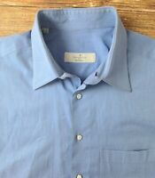 Ermenegildo Zegna Mens Long Sleeved Dress Shirt Sz 16.5-33 Blue