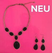NEU H&M Schmuckset Statementkette Kette Collier+Ohrringe Schwarz Gold Glitzer