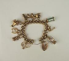 9 Carati Oro Giallo Bracciale con Charm con amore Cuore Fibbia & dieci charms