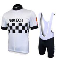 1986 Peugeot Cycling Jersey Shorts Bib Retro Road Pro Clothing MTB Short Sleeve