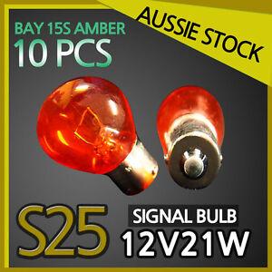 Signal Indicator Wedge Light Bulbs Globes S25 12V 21W AMBER BAY15S 10PCS YELLOW