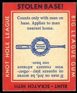 1937 GOUDEY Knot Hole League BIG LEAGUE GUM Baseball Card - Bunt / Stolen Base