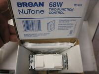 Broan Nutone 68W Two Function Control White Wall Switch 6E900
