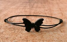 Black Cord Bracelet with wooden Black butterfly retro