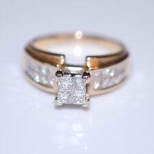 4-stone Princess cut Diamond center w Princess cut accents 14K yellow Size 8
