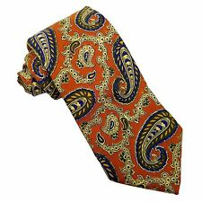 """Lands' End Neck Tie ORANGE Blue & Yellow PAISLEY - 3.75"""" Wide by 60"""" Long SILK"""