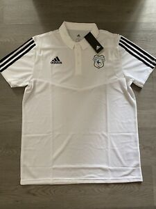 Cardiff City Adidas Climalite Mens White S/Sleeved Polo Short Size Large - BNWT