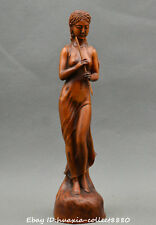 Chinese boxwood wood hand carve beautiful woman Blow flute Goddesses Statue