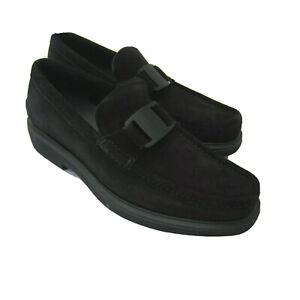J-4189230 New Salvatore Ferragamo Grimes Black Suede Leather Loafers Size 11.5D