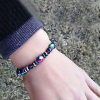 Unisex Modus Multicolor Magnetic Armband Perlen Haematit Stein fuer Therapi JKS