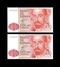 F.C. PAREJA CORRELATIVA 2000 PESETAS 1980 , SERIE 9A , S/C .
