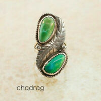 Wholesale Vintage 925 Silver Turquoise Feather Engagement Wedding Ring