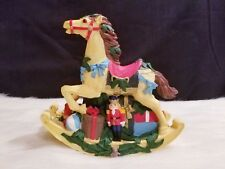 "Vintage Christmas Rocking Horse with Gifts Figurine 6"" H x 6"" W x 2"" D"