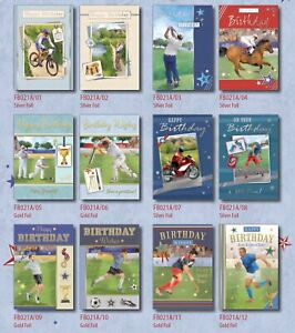 29p! MALE SPORTS CARDS x36-FREE POST 6 DESIGNS x6, WRAPPED, FOILED, SUPERB