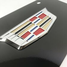 Cadillac New Crest Black License Plate (3D Emblem Premium Vanity Design)