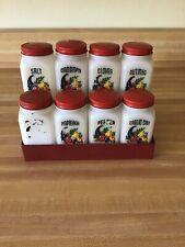Vintage Cornucopia/Horn of Plenty Milk Glass Spice Set with Display Rack