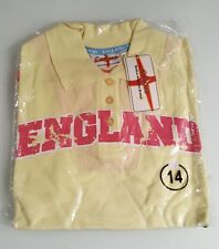 (tee003)t shirt womens pale yellow short sleeve polo shirt size 14 BNIP England