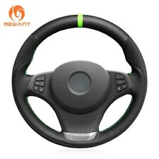 Black Genuine Leather Black Suede Car Steering Wheel Cover for BMW E83 X3 2003-