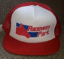 Vintage Raceway Park Toledo Ohio Red Snapback Mesh Hat Horse Racing Gambling