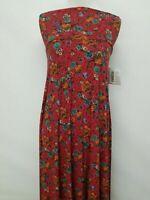 New LuLaRoe Maxi Skirt XS red blue green orange purple yellow floral flowers