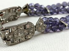 Cookie Lee Bracelet Purple Bead Pave Rhinestone Stretch