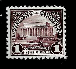 US  1923  Sc# 571  $1.00 Lincoln Memorial Mint NH Vivid  Color -  Centered - GEM