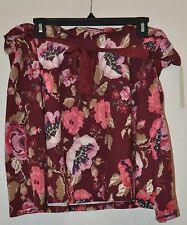 Lauren Conrad XL Womens Floral Circle Skirt Ribbon Sash Paperbag Waist Burgundy