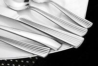 NEW Lorena Flatware XAN 45-piece Silverware Set - Stainless 45pc Serving for 8