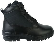 Black Leather Army Patrol Combat Mid Boots SIDE ZIP Cadet Security Military 947
