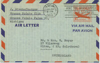 USA 1950 10C Aircraft Air Letter slogan DETROIT.MICH / HIRE THE HANDICAPPED ITS