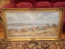 Antique Canvas Oil Painting Marie Charlot Ornate Wood Frame Signed