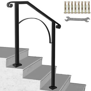 Iron Handrail Arch Step Hand Rail Stair Railing Fits 2 Steps for Paver Outdoor