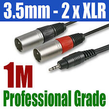 3.5mm STEREO iPhone iPod TO 2 x XLR MALE PLUG CABLE 299