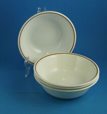 "4 Corelle  Indian Summer 6.25"" Cereal Bowls Single Brown Ginger Band inside rim"
