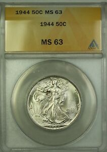 1944 Walking Liberty Silver Half Dollar 50c ANACS MS-63 Choice BU (Better Coin)