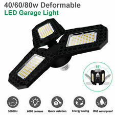 80W Deformable Bright Led Garage Lights Bulb Fixture Ceiling Workshop Lamps Usa