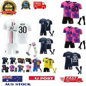 21/22 Kids Adults Football Home Away Kits Soccer T-Shirt & Shorts Sport Tee Tops