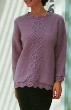 "447 DK LADIES LACY HEM & CELTIC KNOT JUMPER 30-40""  VINTAGE KNITTING PATTERN"