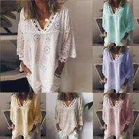 Women V Neck Hollow Out Blouse Lace Floral Patchwork Elegant T-Shirt Tops S-5XL