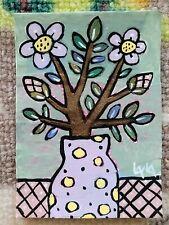 ORIGINAL ACEO Painting Folk Art Flower Whimsical Botanical Pot Vase Berry Leaf