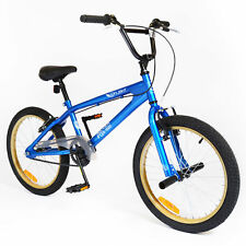 """SILVERFOX 20"""" Flight BMX BIKE - Bicycle in BLUE & GOLD with Stunt Pegs"""