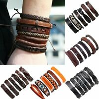 Chic Men Multi-layer Punk Ethnic Leather Wrap Wristband Braided Cuff Bracelet