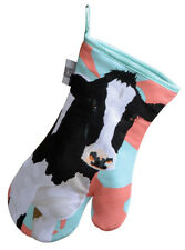 Leslie Gerry Friesian Cow Single Oven Gauntlet Mitt Glove Stunning Design New